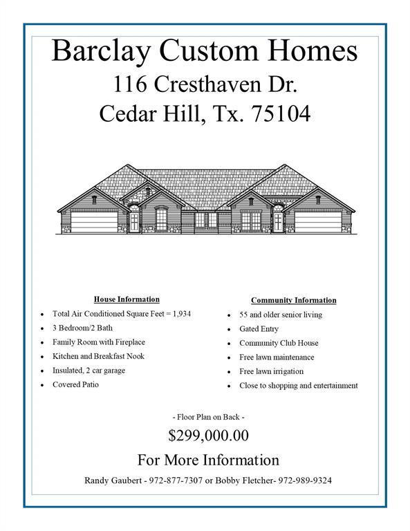 Active   116 Cresthaven Drive Cedar Hill, TX 75104 3